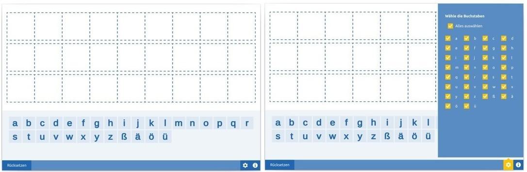 Alphabettafel Buchstaben