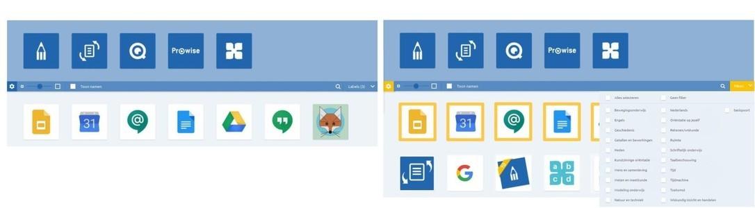 Webapplicaties zoeken en filteren Prowise GO