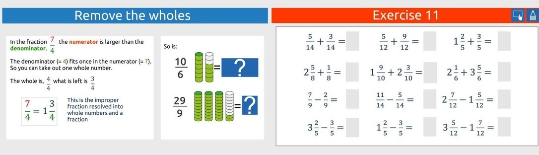 Calculate with fractions part 2