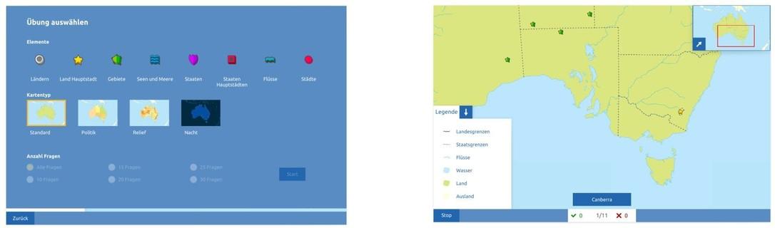 Topographie Australien Übungsmodus
