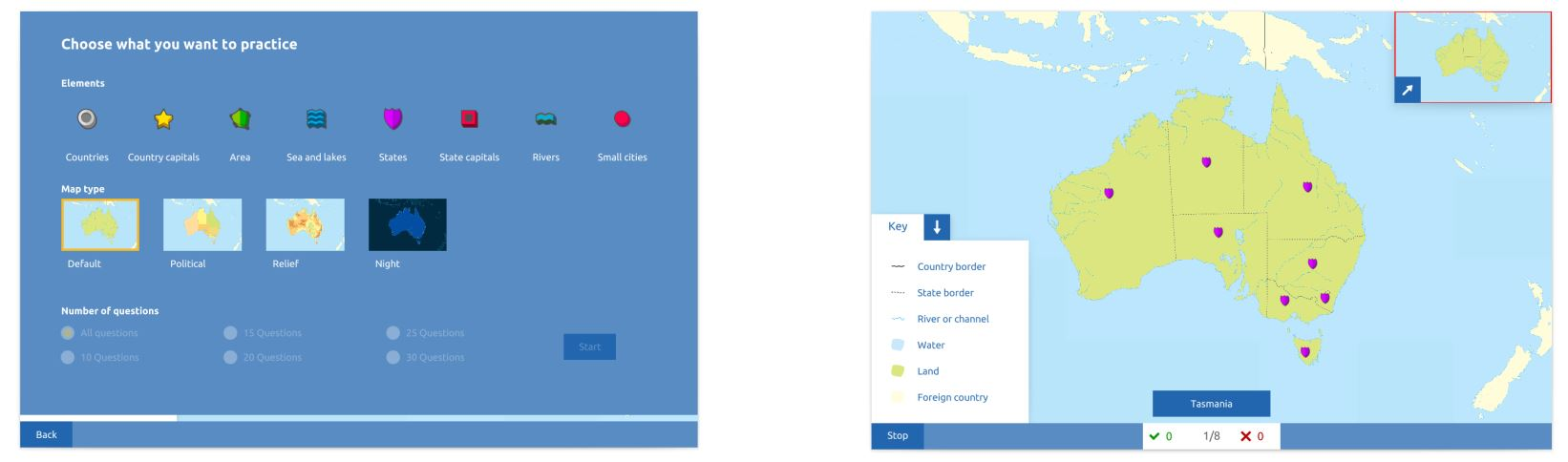 Topography Australia Practice mode