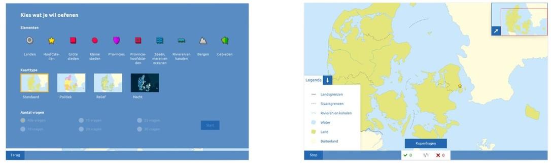 Topografie Denemarken oefenmodus