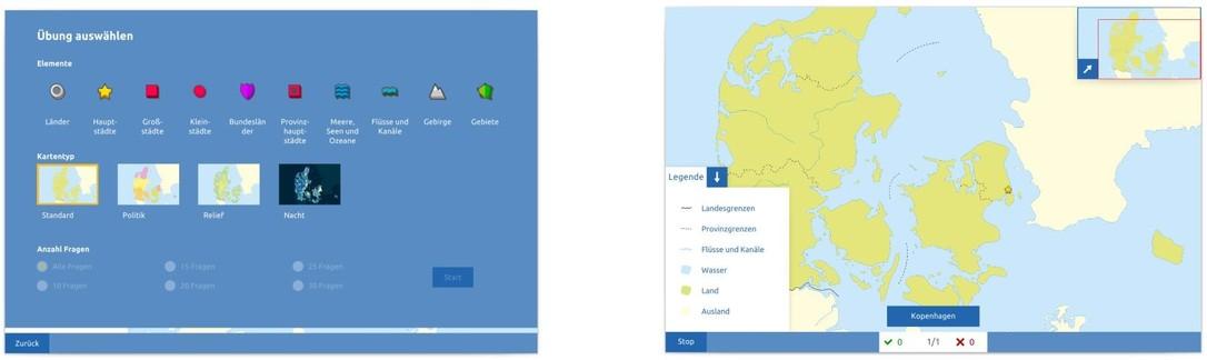 Topographie Dänemark Übungsmodus