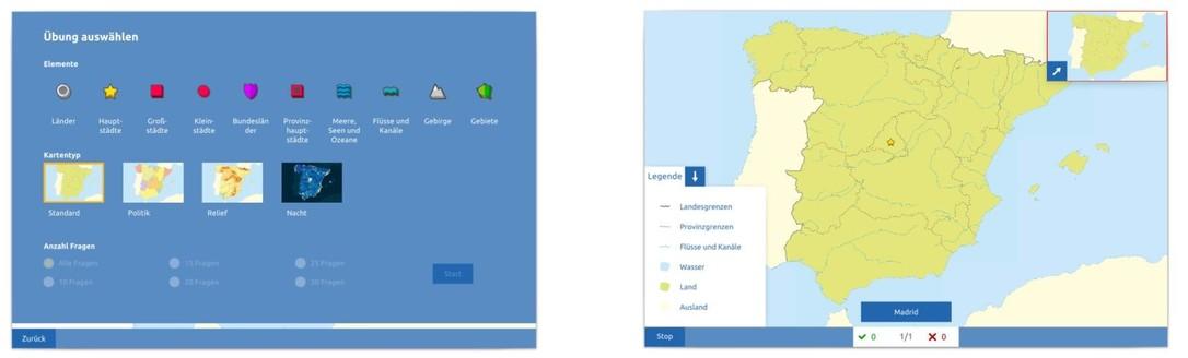 Topographie Spanien Übungsmodus