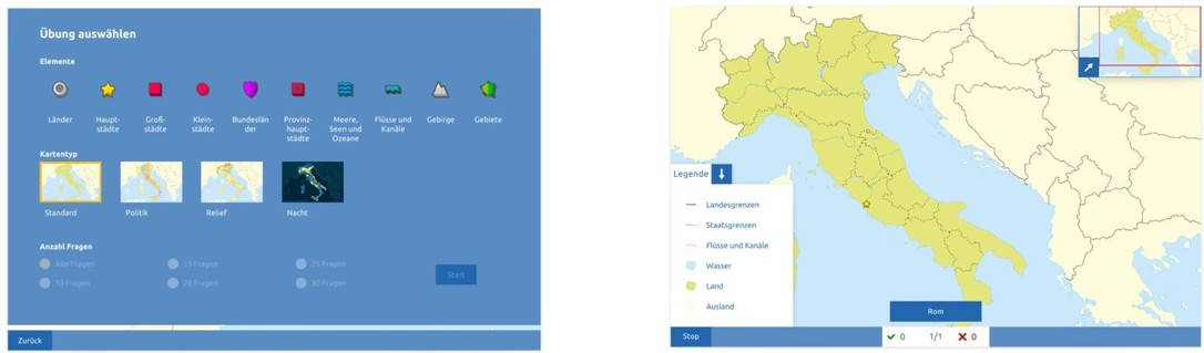Topographie Italien Übungsmodus