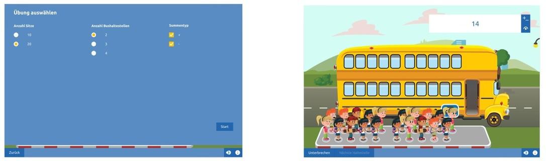 Der Zehnerübergang-Bus Übungsmodus