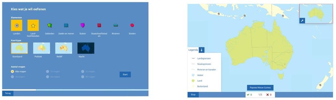 Topografie Australië oefenmodus