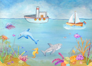 Vertelplaat 'In de zee'