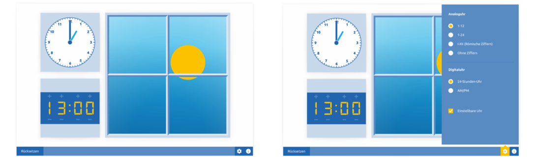 Uhr, Tag und Nacht